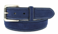 "3238 FULLERTON Suede Roller Buckle Full Grain Leather Belt - 1 3/8"" NAVY"