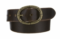 "3916 Fullerton Vintage Casual Genuine Full Grain Leather Belt  1 1/2"" wide - Brass Buckle"