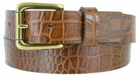 """3615 Alligator Embossed Roller Buckle Casual Leather Belt - 1 3/8"""" Wide - 3 Colors Available"""