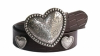 "4232 Silver Hearts Casual Full Grain Leather Belt - 1 1/2"" wide"