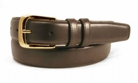 """1276 Dress Leather Belt Curved Gold Buckle - 1 1/4"""" wide"""