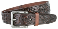 """3568 Western Floral Embossed Leather Casual Belt - 1 1/2"""" wide"""