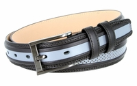 """BL009 Perforated Dress Leather Golf Belt - 1 1/4"""" Wide BLACK/GRAY"""