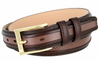 """BL009 Perforated Dress Leather Golf Belt - 1 1/4"""" Wide BROWN"""