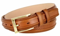 """BL009 Perforated Dress Leather Golf Belt - 1 1/4"""" Wide TAN"""