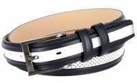 """BL009 Perforated Dress Leather Golf Belt - 1 1/4"""" Wide NAVY/WHITE"""