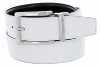 "RS7 Men's Reversible Leather Dress Belt - 1 3/8"" wide  WHITE/BLACK"