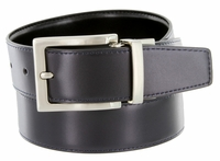 "RS7 Men's Reversible Leather Dress Belt 1 3/8"" NAVY/BLACK"