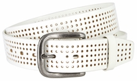"""NEW!!! 3810 Perforated 100% Leather Casual Jean Belt - 1 1/2"""" Wide - WHITE"""