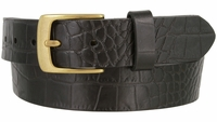 "3551 Crocodile Embossed Pattern Genuine Casual Leather Belt 1-3/8"" wide"