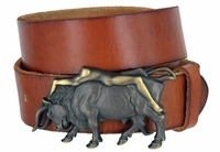 "3912 Bull and the Lady Belt Buckle Casual Jean Leather Belt - 1 1/2"" wide"