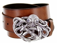 "3913 Octopus Boat Anchor Buckle Casual Jean  Leather Belt - 1 /2"" wide"