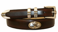 3267 Hand Dyed Golf theme Leather Dress Belt