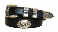 2197 Bear Concho Leather Dress Belt