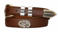 2883 Two Fish Leather Concho Dress Belt