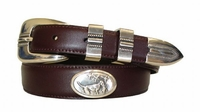 2198 Hunting Dog Concho Leather Dress Belt - CORDOVAN