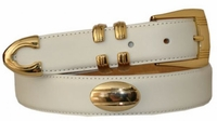 """1306 Leather Gold Concho Dress Belt - 1 1/8"""" wide"""