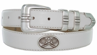 "2529 Genuine Leather Dress Golf Belt with Vintage Tennis Racquet Conchos 1-1/8"" wide"