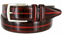 Lejon Vintage Style Italian Calfskin Center Stripe Leather Dress Belt - Burgundy