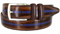 Lejon Vintage Style Italian Calfskin Center Stripe Leather Dress Belt - Brown