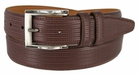 LJ1233 Men's Embossed  Leather Dress Belt 1-3/8 Wide Made In USA - Brown