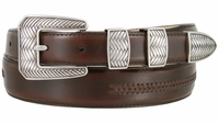 8205 Smooth Lacing Genuine Leather Belt with Silver Cross-weaved Buckle Set - FINAL SALE