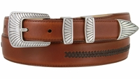 8207 Silver Clam Design Smooth Lacing Genuine Leather Belt - FINAL SALE