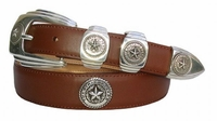 1000 Texas Seal Concho Leather Dress Belt