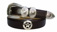 1083 Silver Star Medallion and Concho Leather Belt