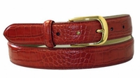"""4044 RED  Croco Embossed Leather Belt - 1 1/8"""" wide"""