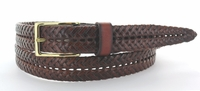 351 Braided Full Leather Dress Belt with Gold Buckle