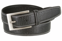 """Men's Double Stitched Edges and Stippled Leather Dress Golf Belt 1-1/4"""" Wide"""