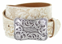 "Western Floral Tooled Casual Jean Leather Belt - 1 1/2"" wide"