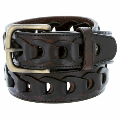 """10541 Braided Genuine Leather Casual Jean Belt - 1 1/2"""" wide BROWN"""