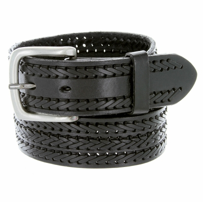 10564 Fine Triple Braided Genuine Leather Casual Jean Belt - BLACK