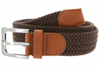 "7001G Fabric Elastic Woven Stretch Belt 1-3/8"" Wide - Brown"