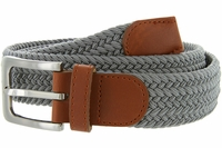 "7001G Fabric Elastic Woven Stretch Belt 1-3/8"" Wide - Gray"