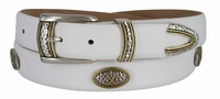 "3882 Golf Crossed Clubs Italian Calfskin Leather Belt - 1 1/8"" WIDE"