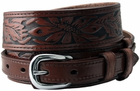 """Traditional Ranger Floral Tooled Full Grain Leather Belt - 1 1/2"""" - 3/4"""" Wide BROWN"""