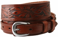 """Traditional Ranger Floral Tooled Full Grain Leather Belt - 1 1/2"""" - 3/4"""" Wide TAN"""