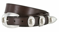 "Traditional Ranger Full Grain Smooth Leather Belt Indian Coin Buckle Set - 1 1/2"" - 1"" Wide"