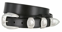 "Tradition Ranger Full Grain Smooth Leather Belt Eagle Coin Buckle Set - 1 1/2"" - 1"" Wide"