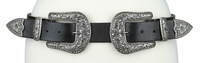 "NEW!!! Women's Hand Made Full Grain Genuine Leather Rhinestone Double Buckle Set Belt - 1 1/2"" Wide"
