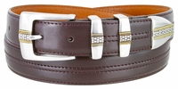 """NEW!!! 3371 Designer Double Center Stitched Leather Dress Belt - 1 1/8"""" wide 4 colors available"""