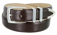 """3219 Men's Genuine Smooth Leather Dress Belt 1-1/4"""" (32mm) with Silver Plated Buckle Set - BROWN"""