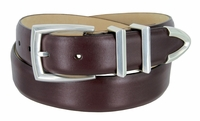 """3219 Men's Genuine Smooth Leather Dress Belt 1-1/4"""" (32mm) with Silver Plated Buckle Set - BURGUNDY"""