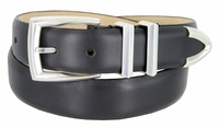 """3219 Men's Genuine Smooth Leather Dress Belt 1-1/4"""" (32mm) with Silver Plated Buckle Set - CHARCOAL"""