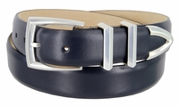 """3219 Men's Genuine Smooth Leather Dress Belt 1-1/4"""" (32mm) with Silver Plated Buckle Set - NAVY"""
