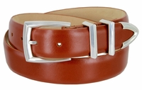"""3219 Men's Genuine Smooth Leather Dress Belt 1-1/4"""" (32mm) with Silver Plated Buckle Set - TAN"""