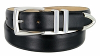 """3219 Men's Genuine Smooth Leather Dress Belt 1-1/4"""" (32mm) with Silver Plated Buckle Set - BLACK"""